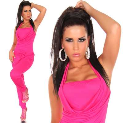Wasserfall Neck-Overall Lang in 8 Farben OneSize 34,36 schlanke 38 Jumpsuit